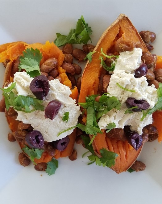 "Baked Sweet Potato with Cashew ""Ricotta"" and Beans"