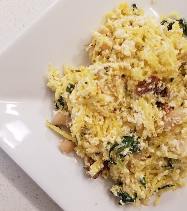 White Bean and Tofu Ricotta Spaghetti Squash